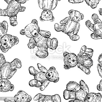 istock Seamless background of sketches of different teddy bears 1178957008
