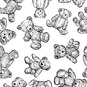 Seamless background of sketches of different teddy bears