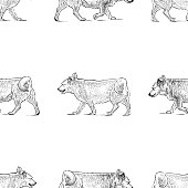 Vector pattern of sketches of striding dogs.