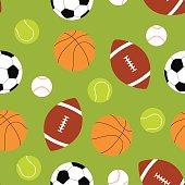 Seamless background of sport balls