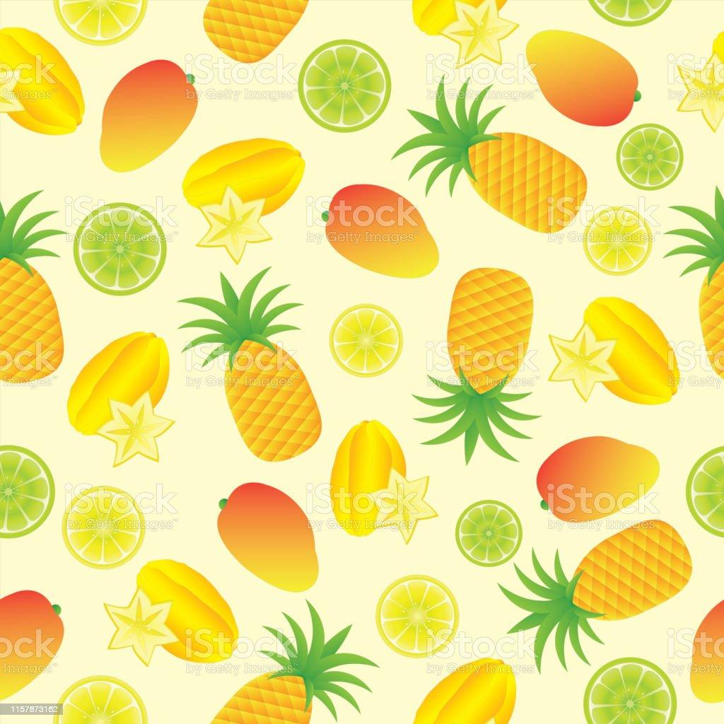 壁紙に適した黄色の背景にトロピカルフルーツと夏のイラストのシームレスな背景 みずみずしいのベクターアート素材や画像を多数ご用意 Istock