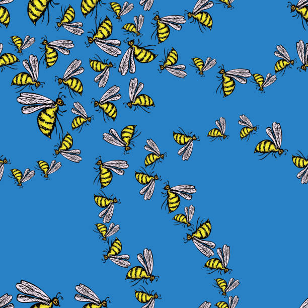 Seamless background of swarm of bees Seamless background of swarm of bees. swarm of insects stock illustrations