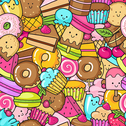 Seamless background of sweet and dessert doodle, cake, sweet donat, cookies and macaron