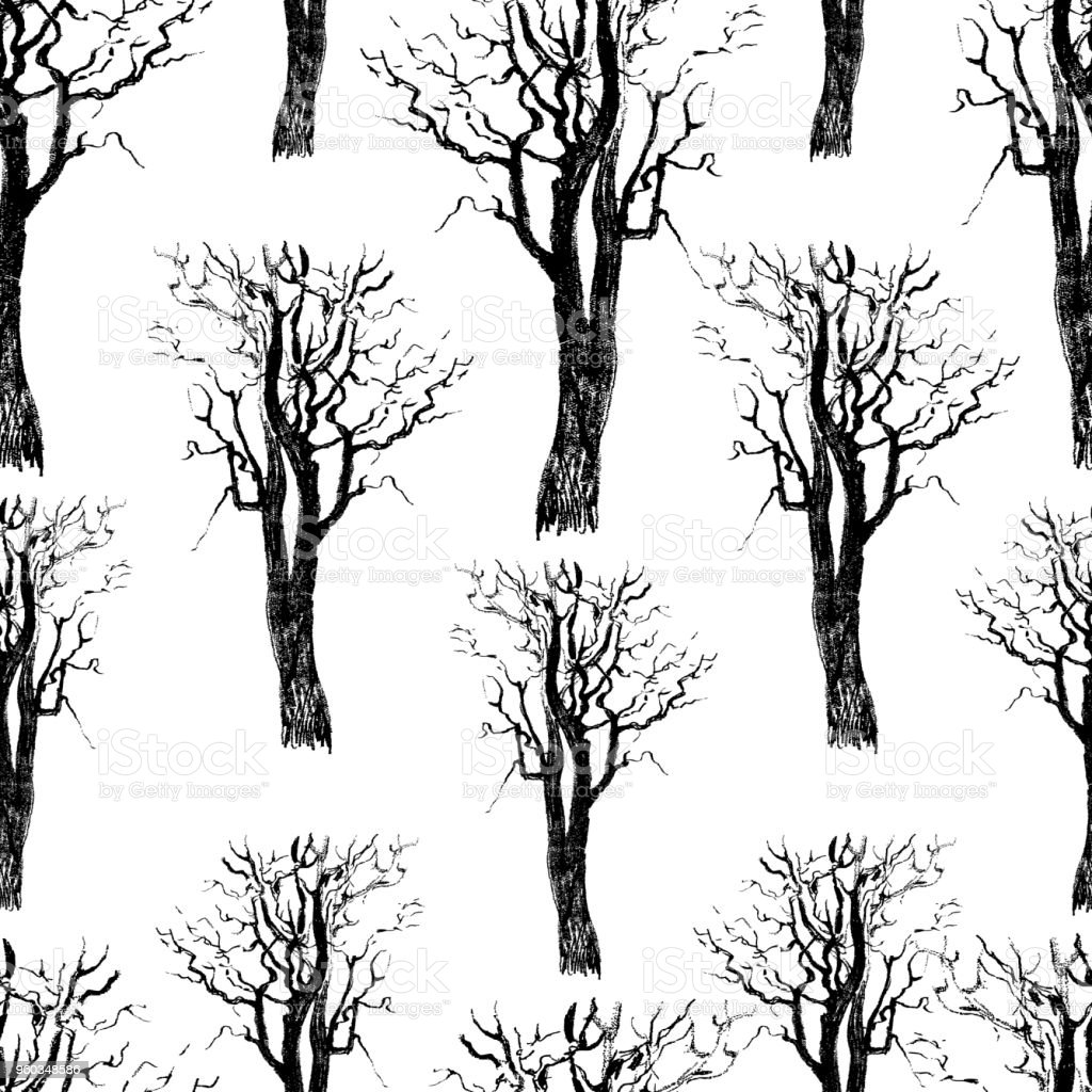 Seamless background of the drawn trees vector art illustration