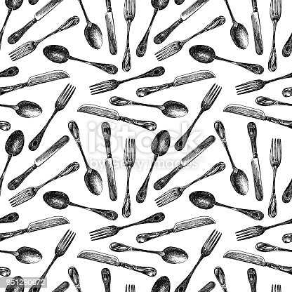 Vector pattern from painted spoons, knives and forks.