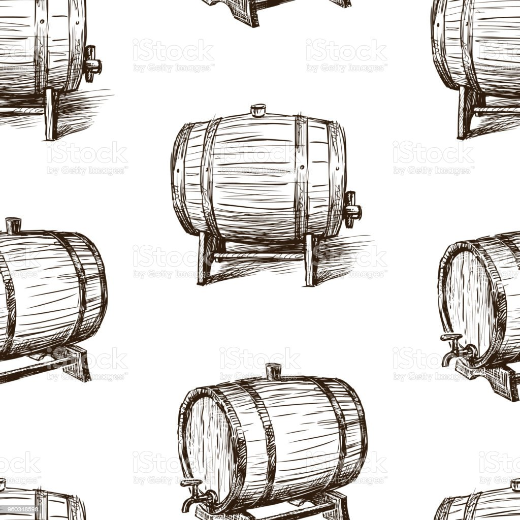 Seamless background of the sketches of wine casks vector art illustration
