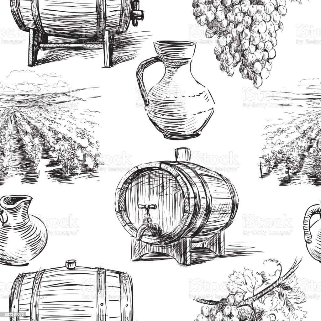 Seamless background of the theme of wine making vector art illustration