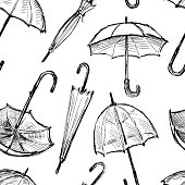 Seamless background of the umbrellas sketches