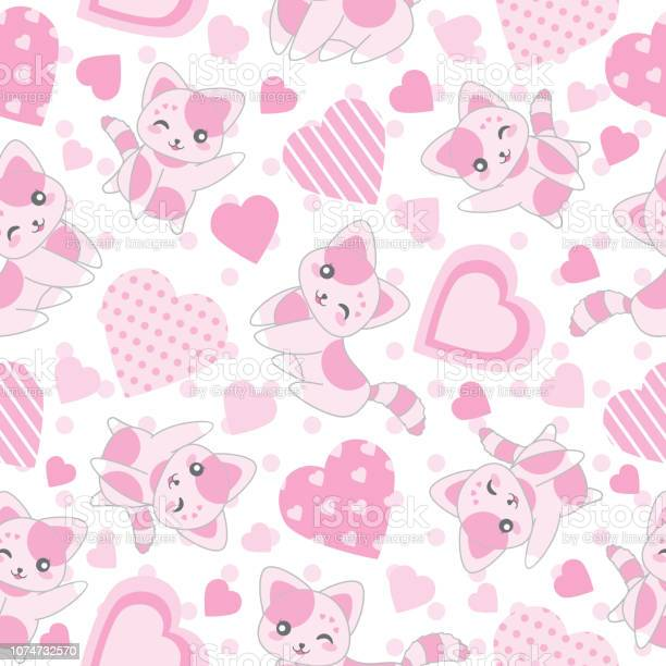 Seamless background of valentines day illustration with cute pink cat vector id1074732570?b=1&k=6&m=1074732570&s=612x612&h=loyjfccym3flkqmq3pudltvo82avohciribzvh2df i=