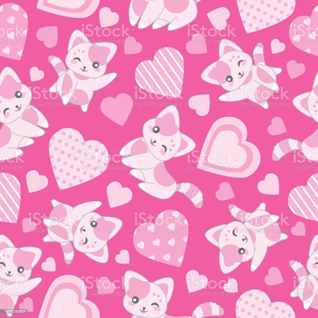 バレンタインの壁紙に適したピンクの背景にかわいいピンク猫と愛の形を