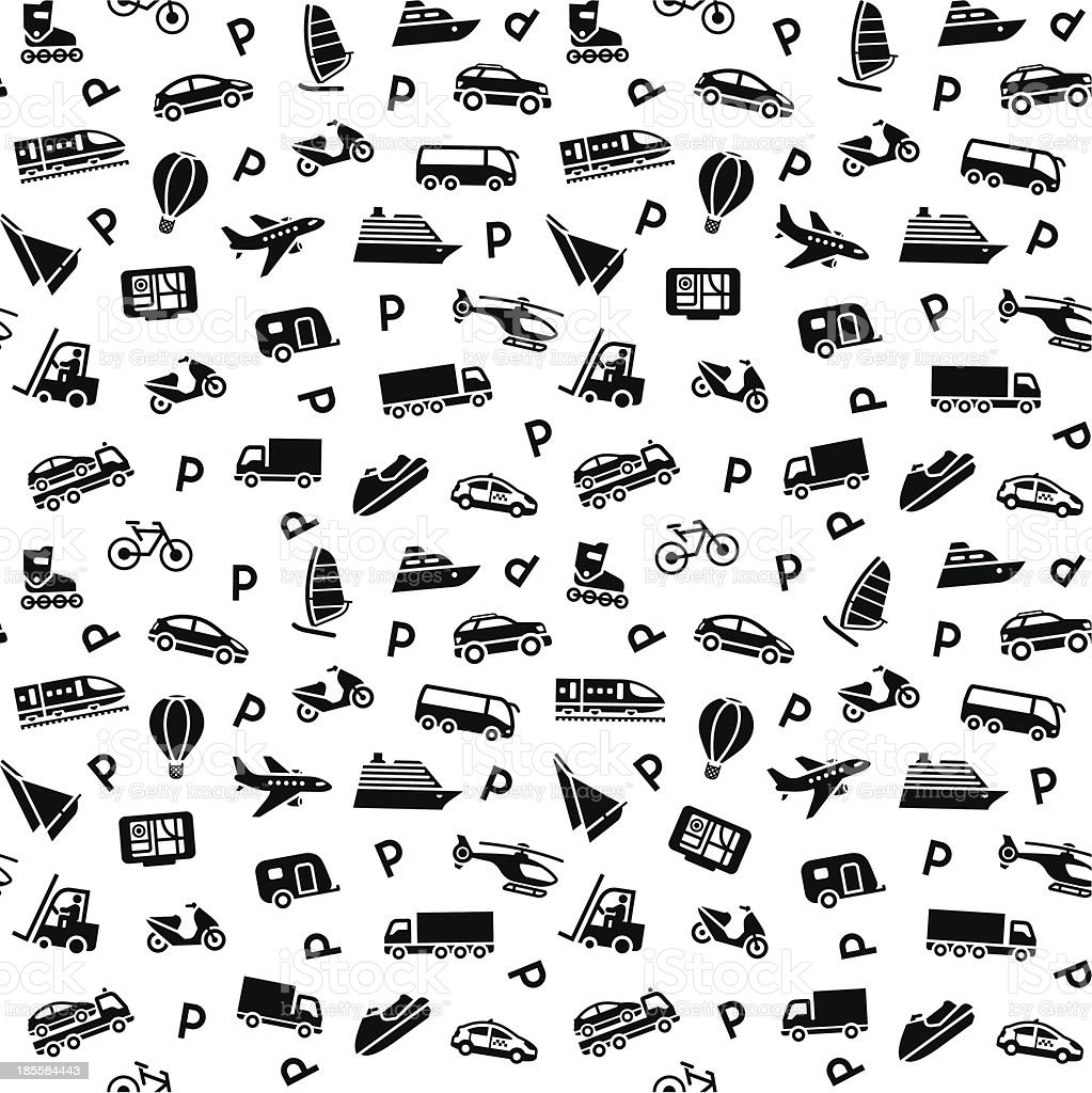 Seamless background of varieties of travel icons royalty-free stock vector art