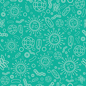 istock Seamless background of viruses and bacteria on a light emerald background. Background for medical and scientific design illustrations. Vector illustration in flat style, isolated, for design and web. 1203691185