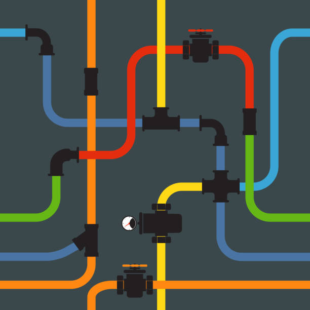 seamless background of water pipeline - flange stock illustrations, clip art, cartoons, & icons