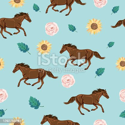 istock Seamless Background Of Wild Horses And Flowers 1292753781