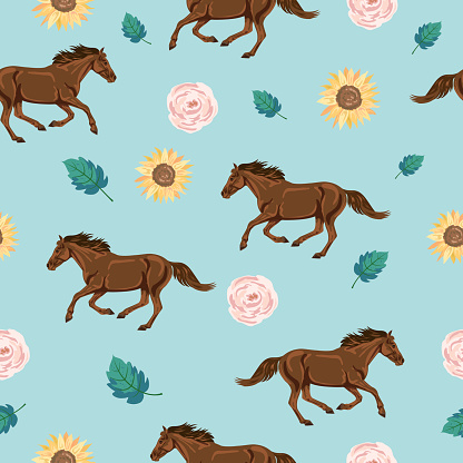 Seamless Background Of Wild Horses And Flowers