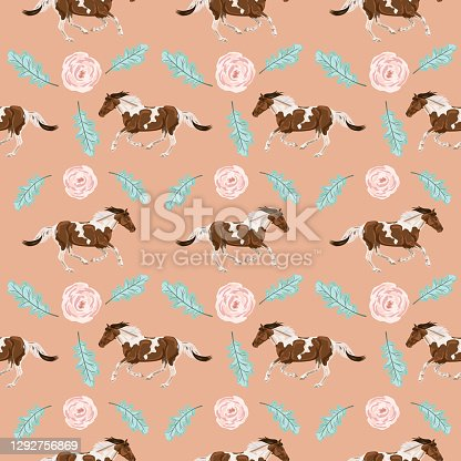 istock Seamless Background Of Wild Horses And Flowers 1292756869