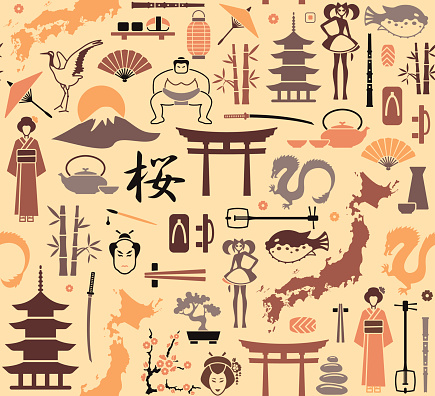Seamless background on a theme of Japan