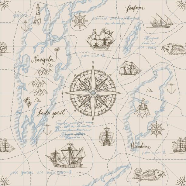 nahtlose hintergrund zum thema reisen - piratenschrift stock-grafiken, -clipart, -cartoons und -symbole