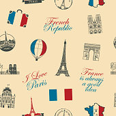 Vector seamless pattern on France and Paris theme with inscriptions, architectural landmarks and flag of French Republic in retro style. Can be used as background, wallpaper, wrapping paper or fabric