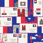 Vector seamless pattern on France and Paris theme with envelopes, French symbols, architectural landmarks and flag of French republic in retro style. Suitable for wallpaper, wrapping paper, fabric