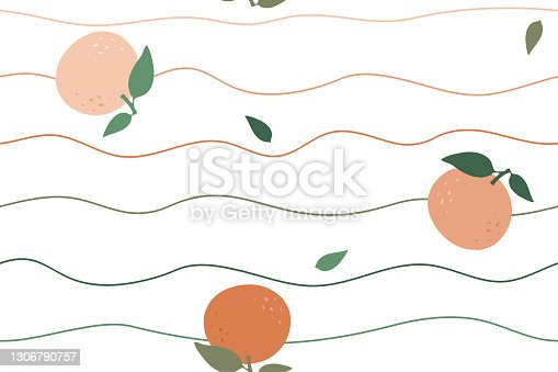istock seamless background oranges and waves on white background 1306790757