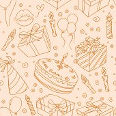 Different kinds of party elements in seamless pattern. High resolution jpg file included.