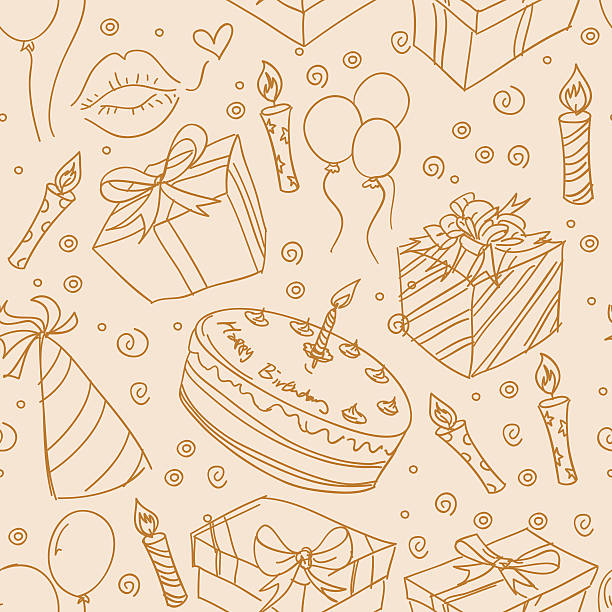 Seamless background - Party Different kinds of party elements in seamless pattern. High resolution jpg file included. cartoon of birthday cake outline stock illustrations