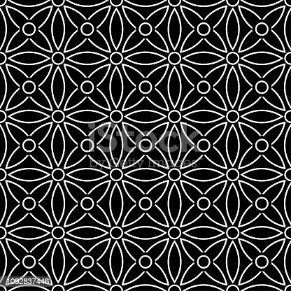 istock Seamless background pattern - black and white wallpaper - vector Illustration 1092837446