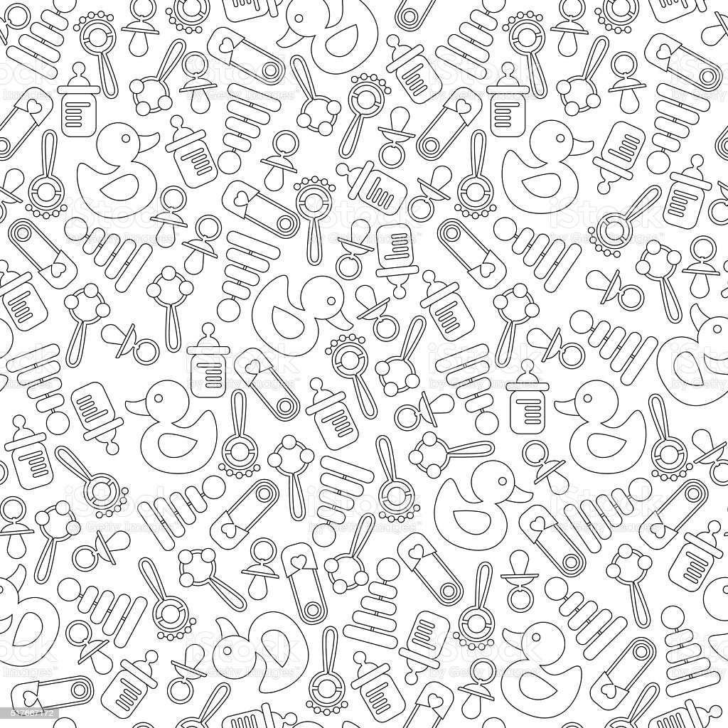 Seamless background pattern for baby shower, new baby greeting vector art illustration