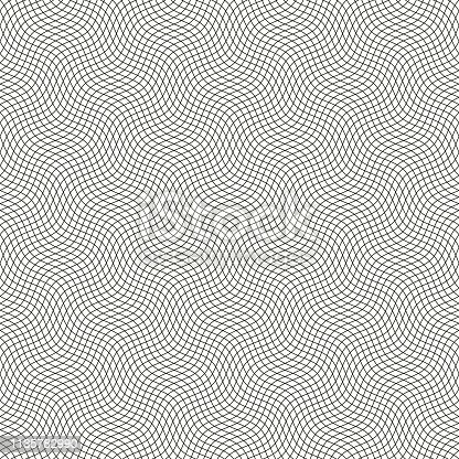 Seamless background pattern. Guilloche pattern with diagonal wavy lines.