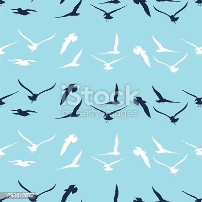 istock Seamless Background Pattern Of Seagulls 1293812877