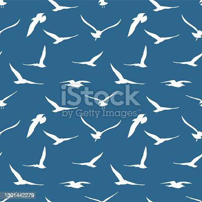 istock Seamless Background Pattern Of Seagulls 1301442279