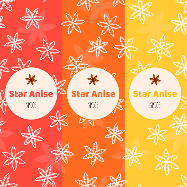 seamless background. Pattern with anise stars. badian. Packaging. vector art illustration