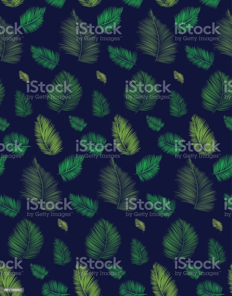 Seamless background pattern with palm leaves. Tropical plants silhouettes , vector illustration. royalty-free seamless background pattern with palm leaves tropical plants silhouettes vector illustration stock vector art & more images of arts culture and entertainment