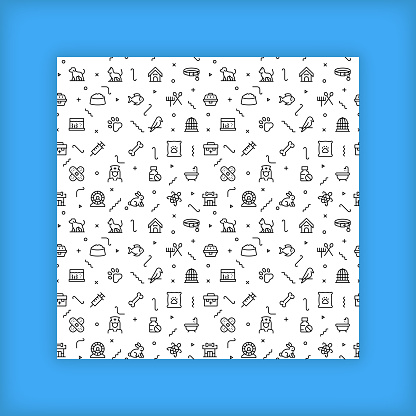 Seamless background pattern with simplified icons about the Pet-Vet topic