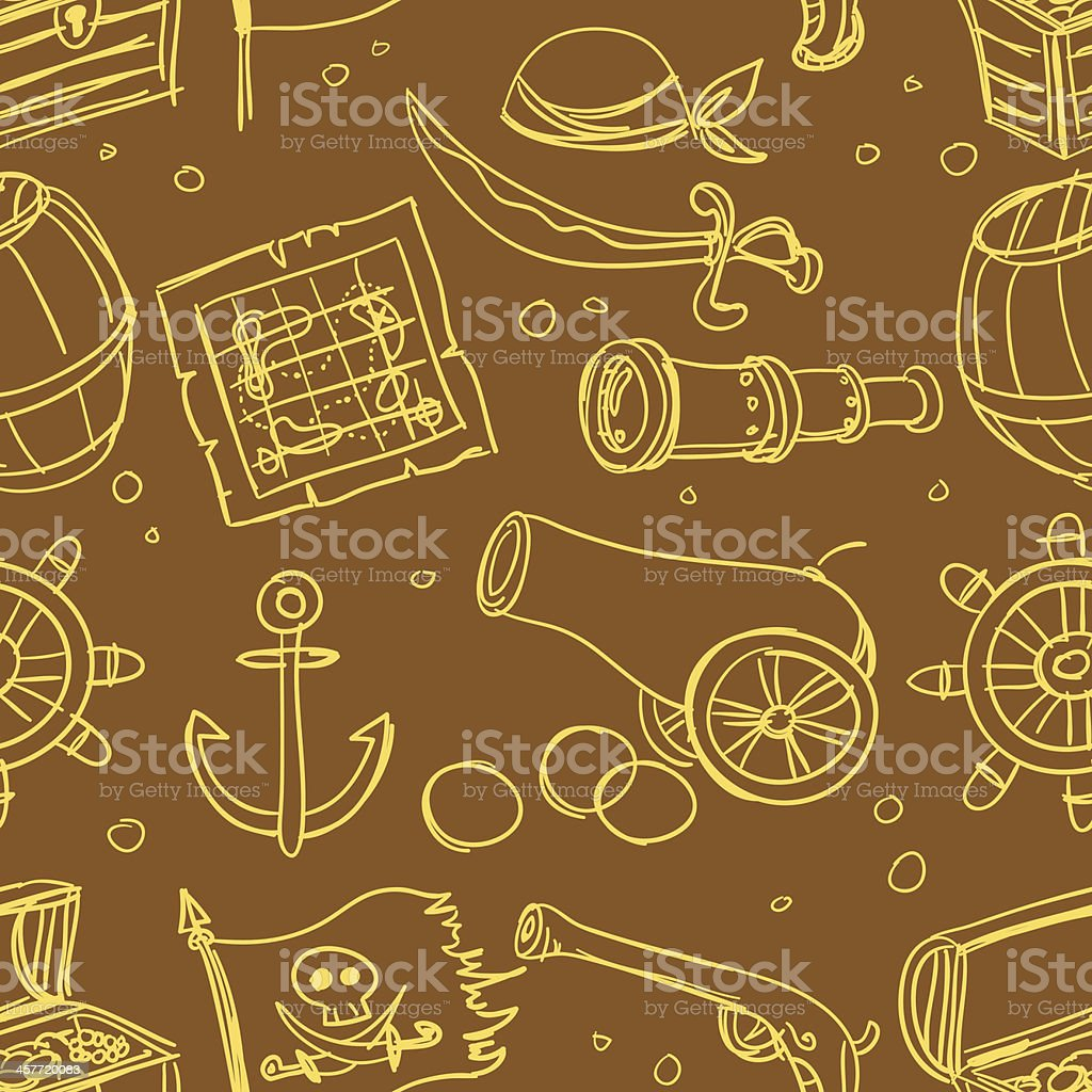 Seamless background - pirate elements royalty-free stock vector art