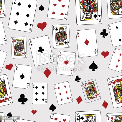 Playing cards in seamless pattern. High resolution jpg file included.