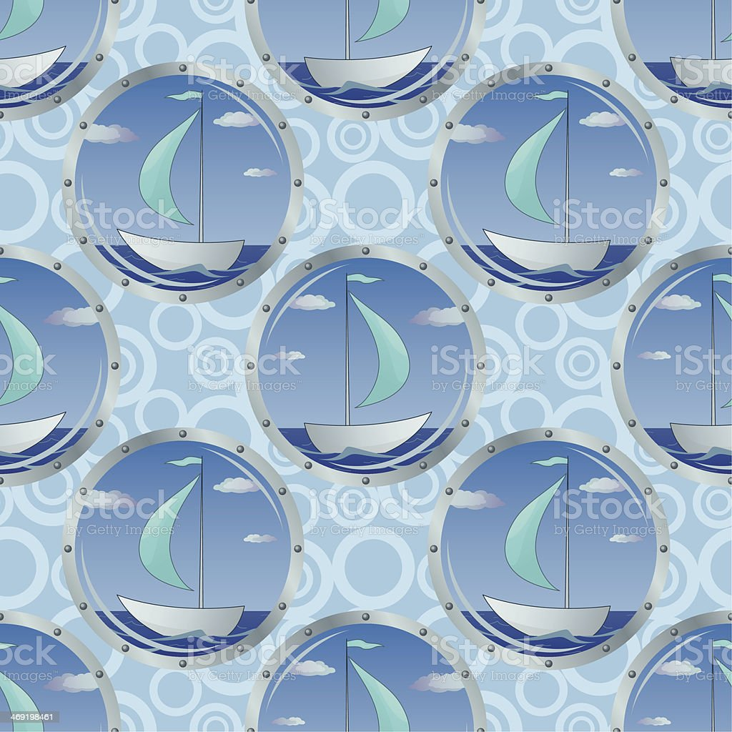 Seamless background, portholes and ships royalty-free stock vector art