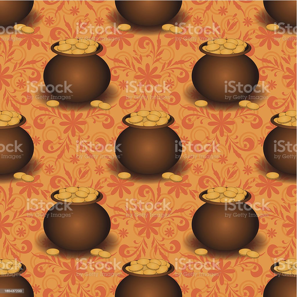 Seamless background, pots with gold royalty-free stock vector art