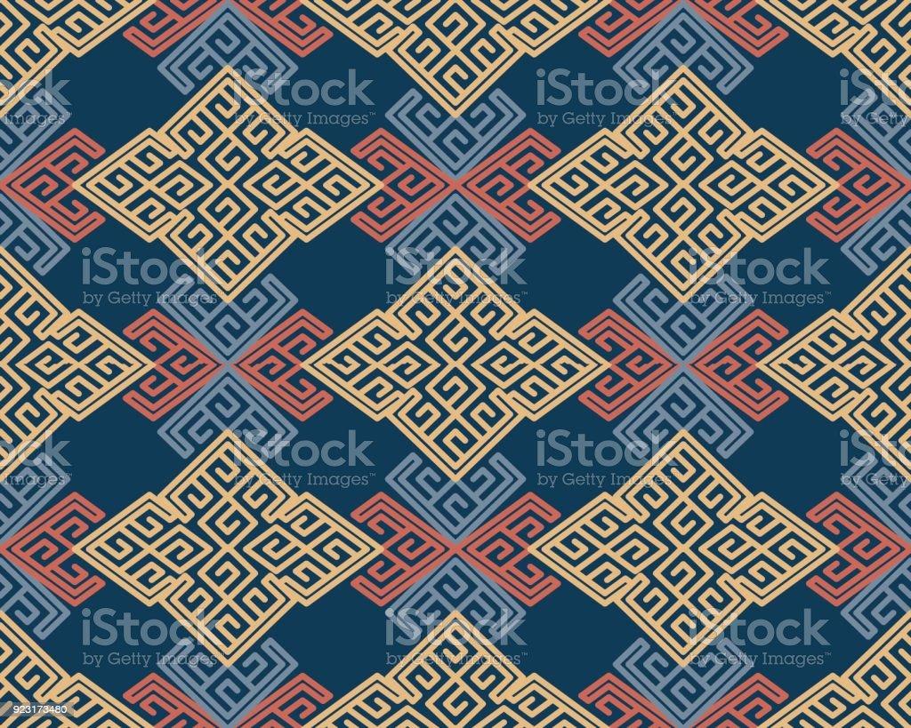 Ilustración de Arte Tradicional Aborigen Retro Asiático Textil ...