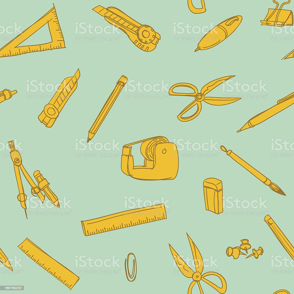 Seamless background - Stationery vector art illustration