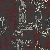 Symbols of England in seamless pattern. High resolution jpg file included.
