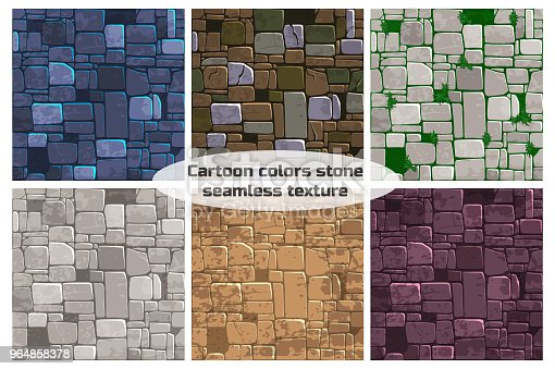 view from above seamless background texture different color stone wall. Vector illustration For Ui Game element