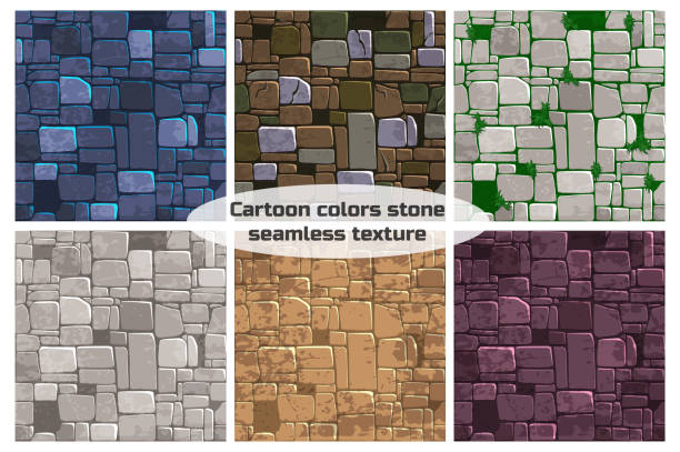 Seamless background texture different color stone wall. Vector illustration For Ui Game element vector art illustration