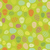Seamless green background to easter with white eggs. Vector illustration for wallpaper, flyers, invitation, posters, brochure, discount voucher, banner.