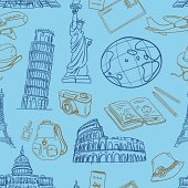 Travel elements in seamless pattern. High resolution jpg file included.