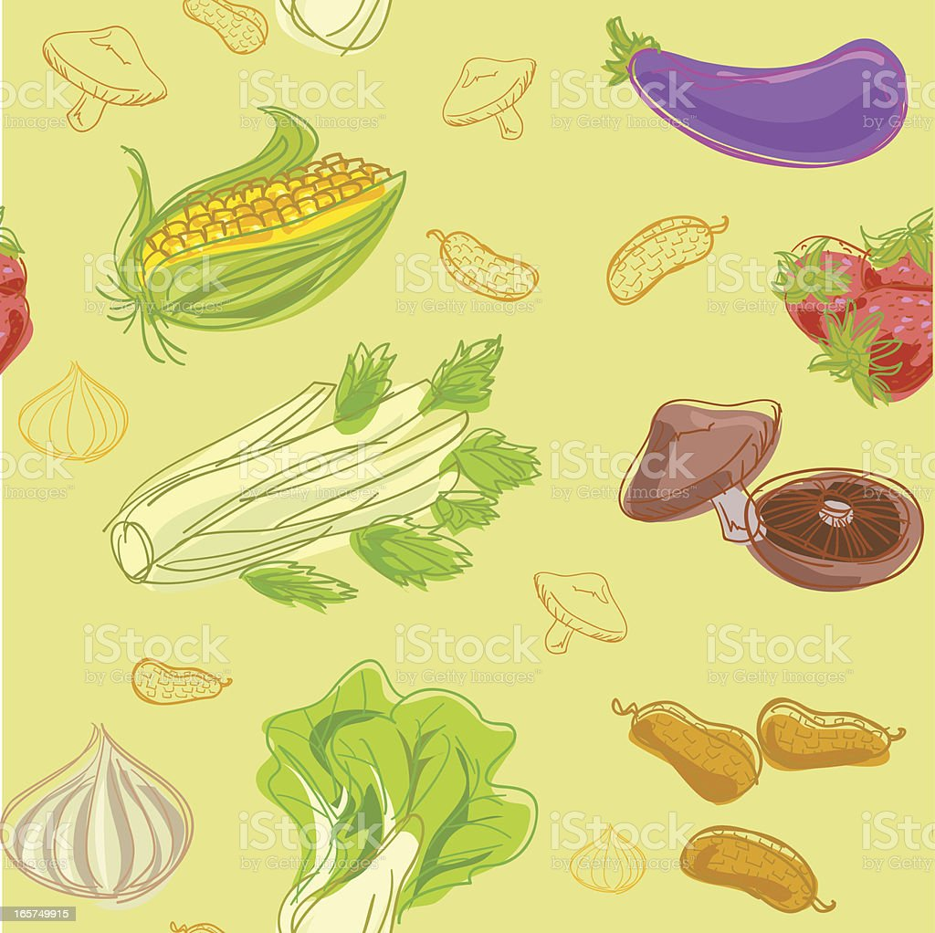 Seamless background - Vegetables vector art illustration