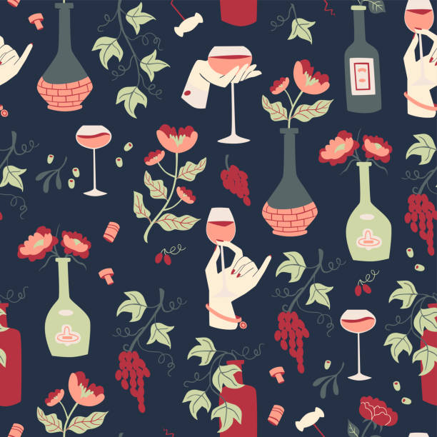 Seamless Background Wine, Grapes and Bottle. Vector Hand Drawn Illustrations. Seamless Pattern with Hand Drawn Doodle Wine Illustrations. drawing of a glass liquor flask stock illustrations