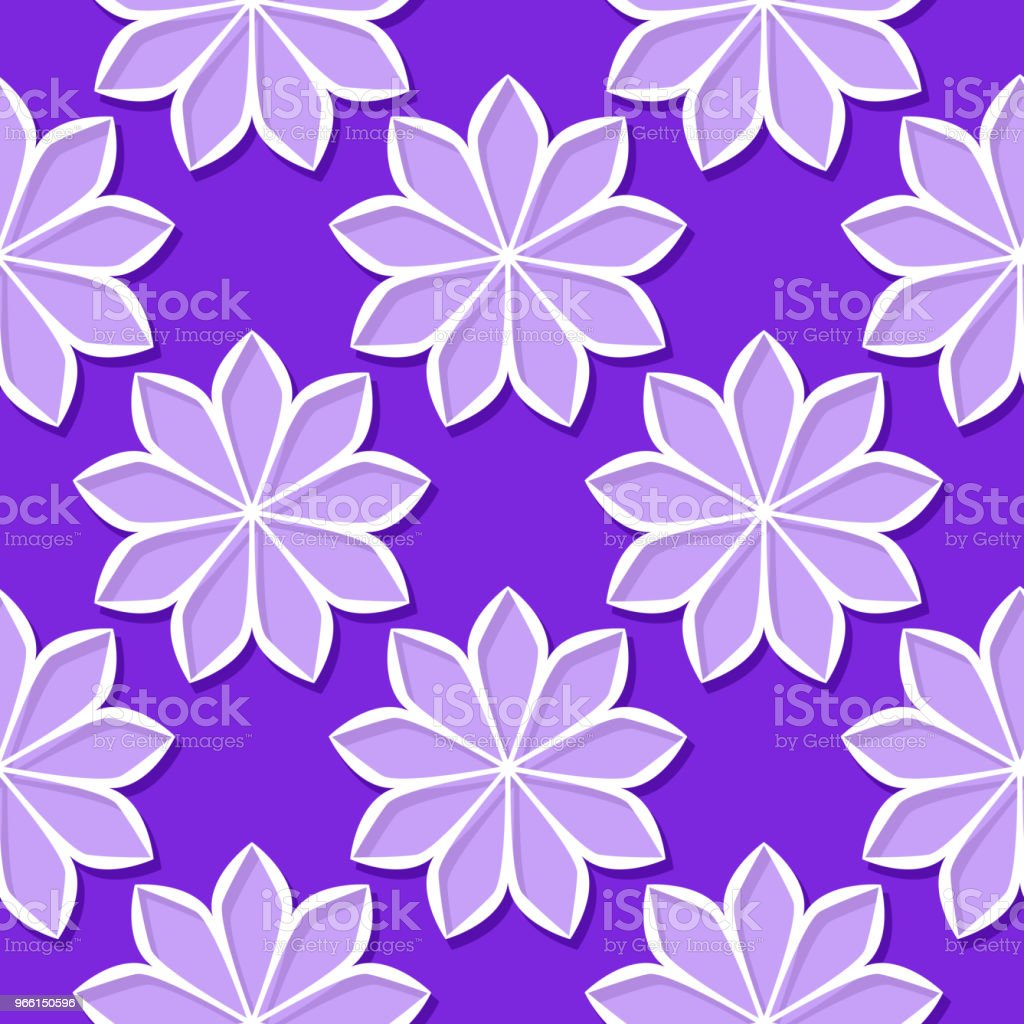 Seamless background with 3d floral violet and lilac elements - Royalty-free Abstract stock vector