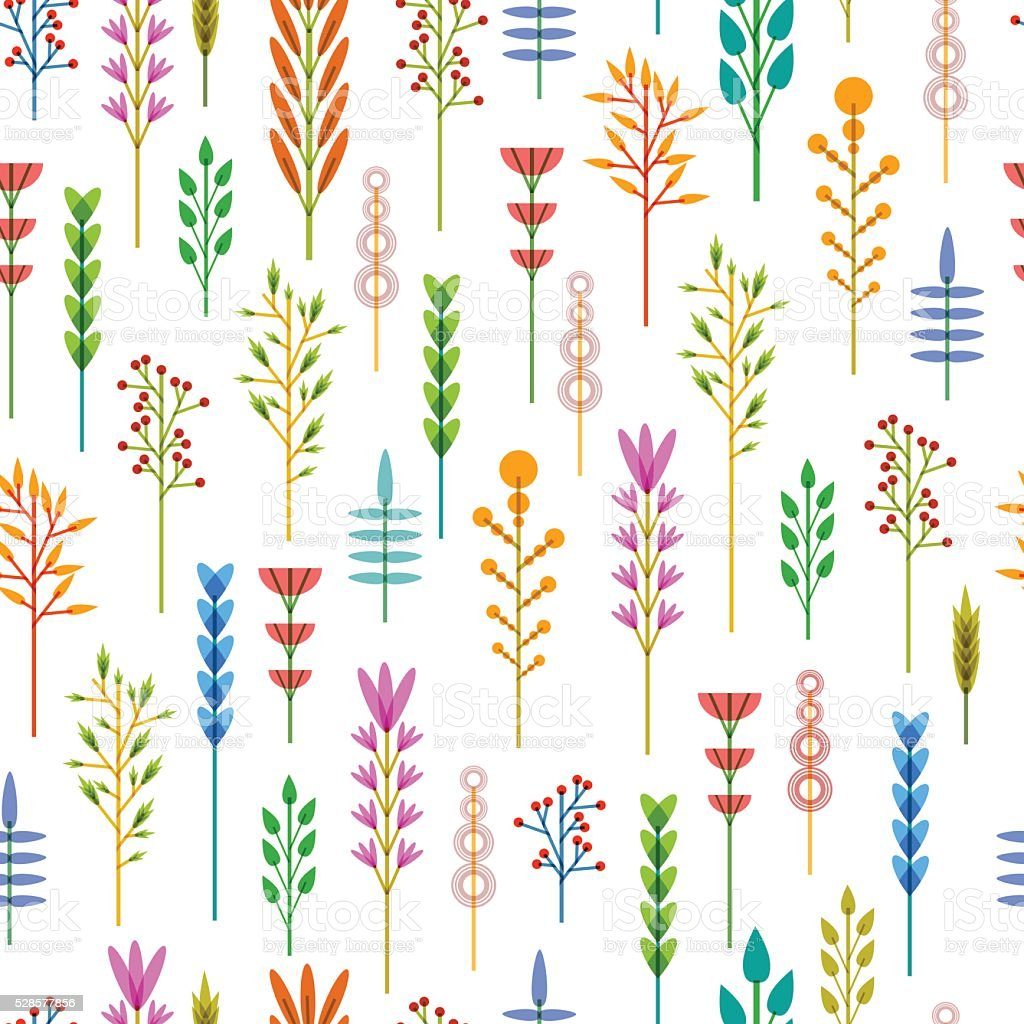 Seamless background with a pattern of geometric flowers. Floral background. vector art illustration